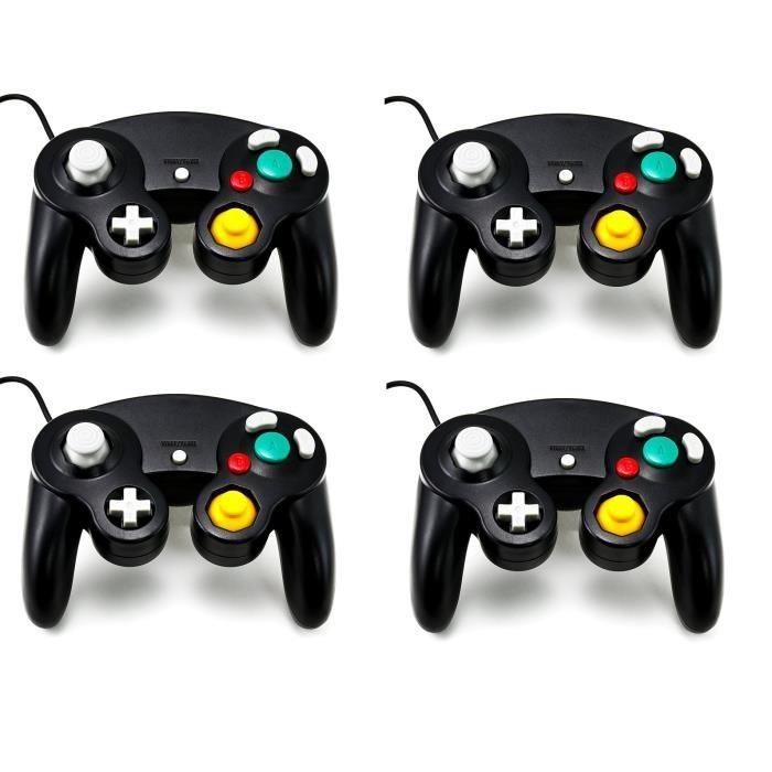 4X Manettes Pad Joystick filaire Pour Console Nintendo GameCube & Wii - Noir